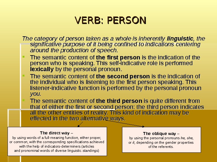 VERB: PERSON The category of person taken as a whole is inherently linguistic ,