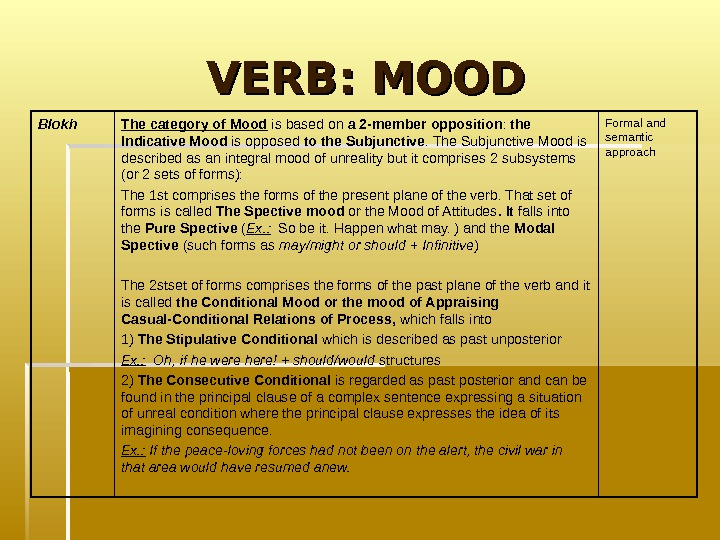 VERB: MOOD Formal and semantic approach. The category of Mood is based on a