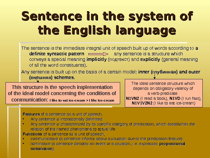 Sentence in the system of the English language The sentence is the immediate integral