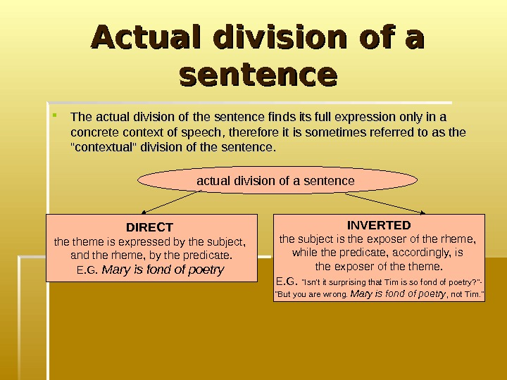 Actual division of a sentence The actual division of the sentence finds its full