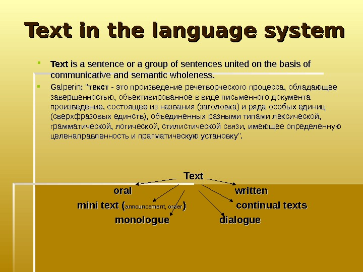 Text in the language system Text is a sentence or a group of sentences
