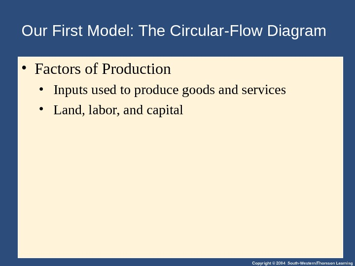 Copyright © 2004 South-Western/Thomson Learning. Our First Model: The Circular-Flow Diagram • Factors of Production •