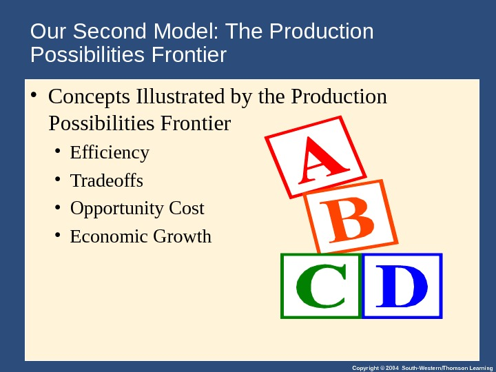 Copyright © 2004 South-Western/Thomson Learning. Our Second Model: The Production Possibilities Frontier • Concepts Illustrated by