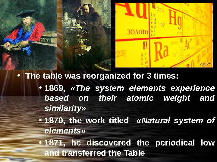 • The table was reorganized for 3 times:  • 1869,  « The system