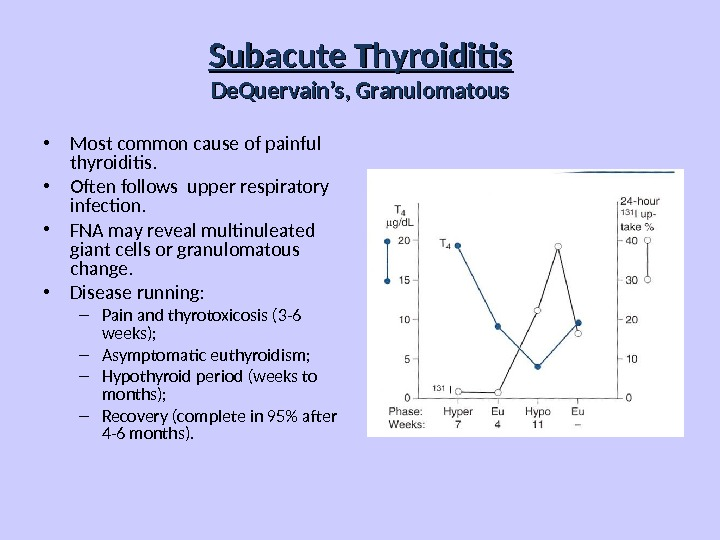 Subacute Thyroiditis De. Quervain's, Granulomatous • Most common cause of painful thyroiditis.  • Often follows