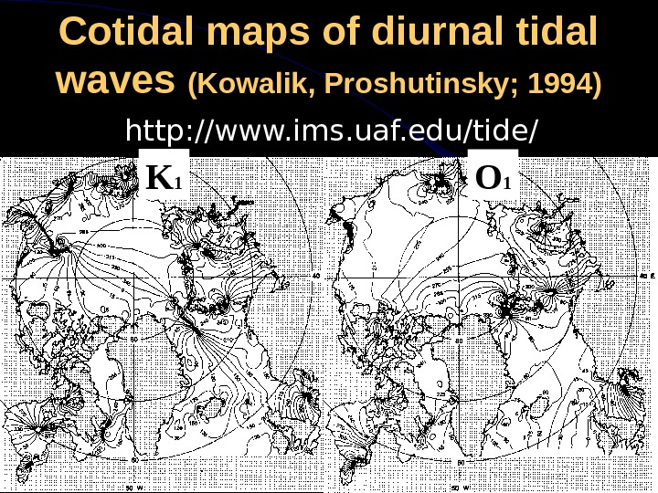 Cotidal maps of diurnal tidal waves (Kowalik, Proshutinsky; 1994) http: //www. ims. uaf. edu/tide/ K 1