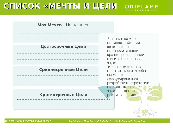 Copyright © 2010 by Oriflame Cosmetics SA Система управления временем от Орифлэйм «Исполни свои мечты» ТММоя