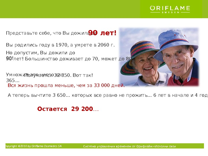 Copyright © 2010 by Oriflame Cosmetics SA Система управления временем от Орифлэйм «Исполни свои мечты» ТМПредставьте