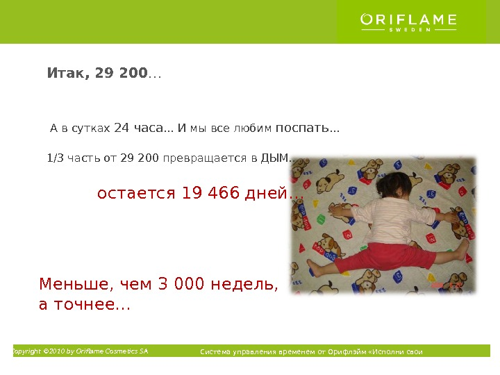Copyright © 2010 by Oriflame Cosmetics SA Система управления временем от Орифлэйм «Исполни свои мечты» ТМА