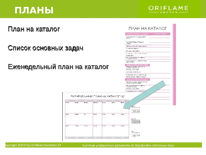 Copyright © 2010 by Oriflame Cosmetics SA Система управления временем от Орифлэйм «Исполни свои мечты» ТМПлан