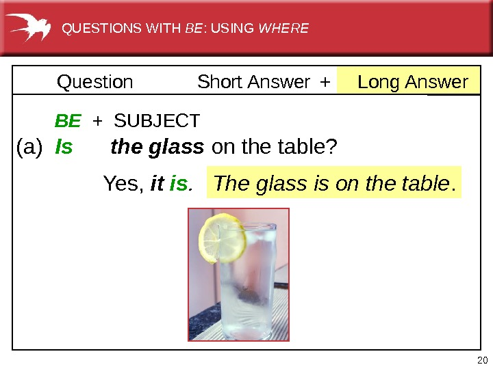 20 +Long. Answer. Question Short. Answer  BE  +  SUBJECT (a) Is  the