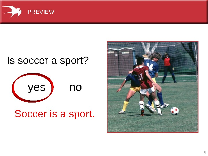 4 Issoccerasport? yes no Soccerisasport.  PREVIEW