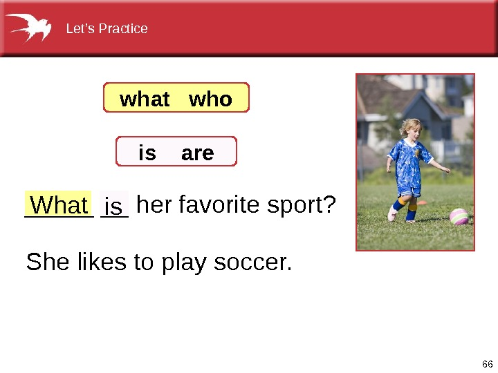66 What_______herfavoritesport? Shelikestoplaysoccer. is what  who is  are Let's. Practice