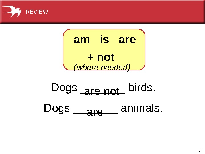 77 Dogs_______birds. Dogs_______animals.  arenot aream  is  are + not  ( where needed