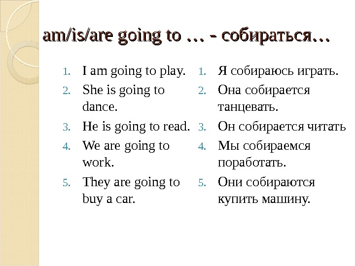 am/is/are going to … - собираться …… 1. I am going to play. 2. She is