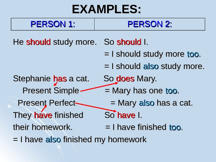 EXAMPLES: He He should study more.  So should I.