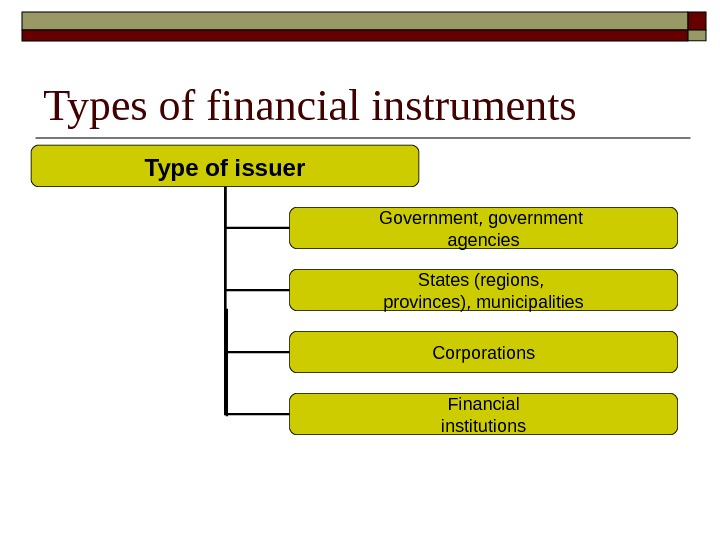Types of financial instruments Type of issuer Government, government agencies States (regions,  provinces), municipalities Corporations