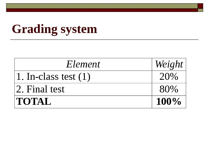 Grading system Element Weight 1. In-class test  ( 1 ) 2 0 2. Final test