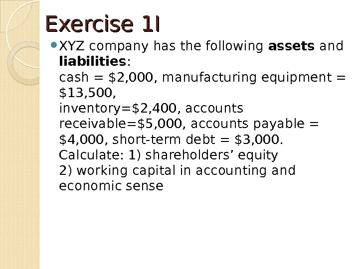 Exercise 1 I XYZ company has the following assets and liabilities : cash = $2, 000,