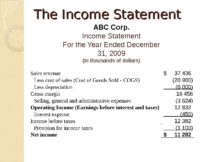The Income Statement ABC Corp. Income Statement For the Year Ended December 31, 2009 (in thousands