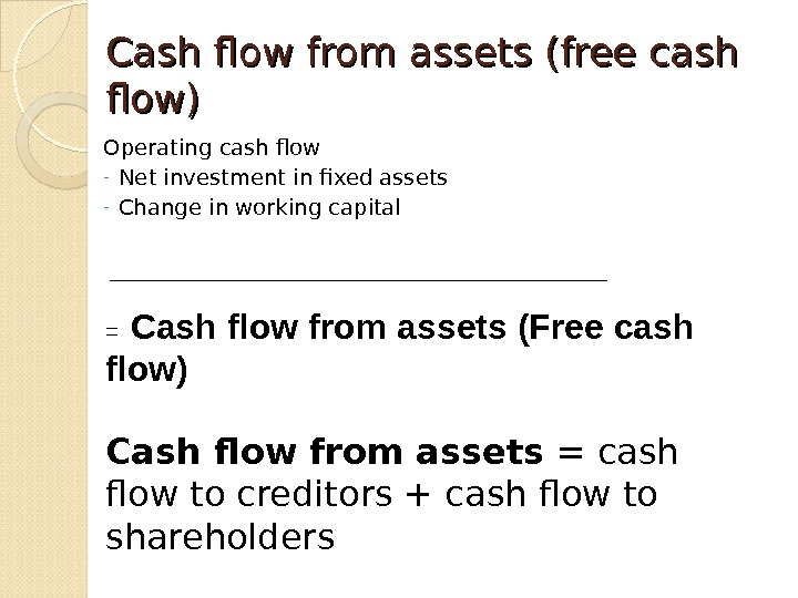 Cash flow from assets (free cash flow) Operating cash flow - Net investment in fixed assets