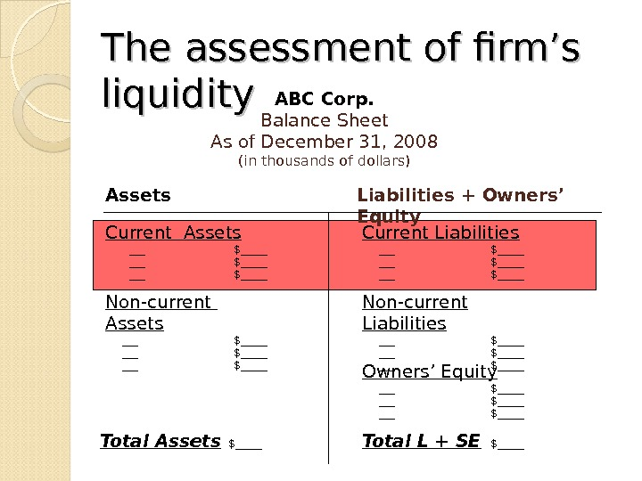 The. The  assessment of firm's liquidity ABC Corp. Balance Sheet As of December 31, 2008