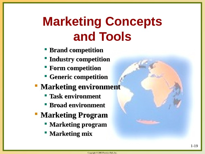 Copyright © 2003 Prentice-Hall, Inc. 1 - 19 Marketing Concepts and Tools Brand competition Industry competition