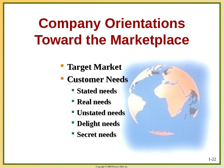 Copyright © 2003 Prentice-Hall, Inc. 1 - 22 Company Orientations Toward the Marketplace Target Market Customer