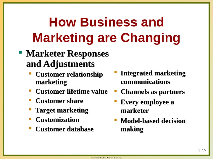 Copyright © 2003 Prentice-Hall, Inc. 1 - 29 How Business and Marketing are Changing Marketer Responses