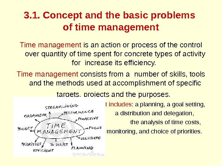 3. 1. Concept and the basic problems of time management Time management is an action or