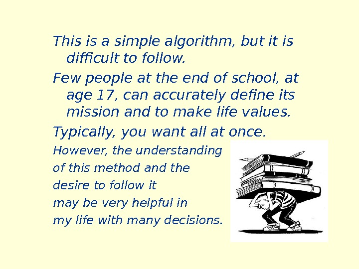 This is a simple algorithm, but it is difficult to follow.  Few people at the