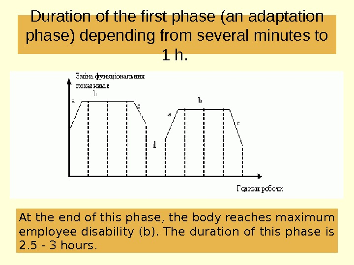 Duration of the first phase (an adaptation phase) depending from several minutes to 1 h.