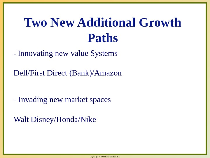 Copyright © 2003 Prentice-Hall, Inc. - Innovating new value Systems Dell/First Direct (Bank)/Amazon - Invading new