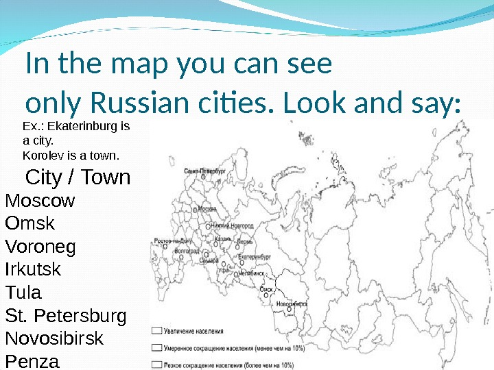 In the map you can see only Russian cities. Look and say: Moscow Omsk Voroneg Irkutsk