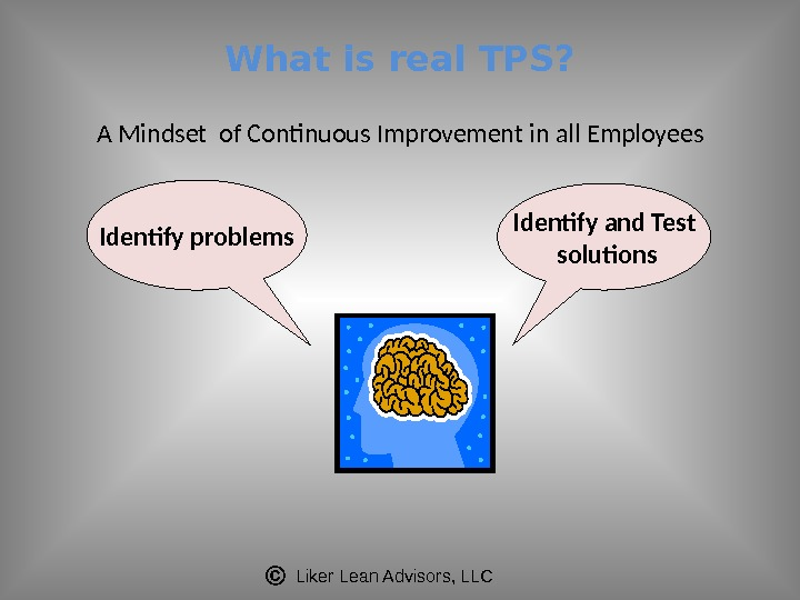 Liker Lean Advisors, LLCWhat is real TPS? A Mindset of Continuous Improvement in all Employees Identify