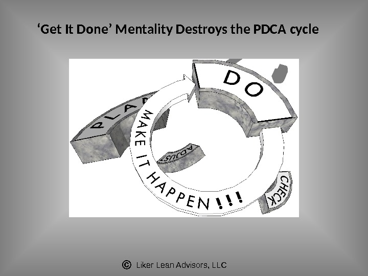 Liker Lean Advisors, LLC' Get It Done' Mentality Destroys the PDCA cycle