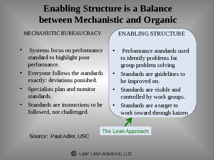 Liker Lean Advisors, LLCEnabling Structure is a Balance between Mechanistic and Organic MECHANISTIC BUREAUCRACY •