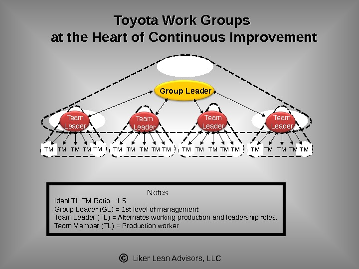Liker Lean Advisors, LLCIdeal TL: TM Ratio= 1: 5 Group Leader (GL) = 1 st level