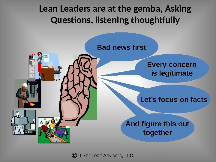 Liker Lean Advisors, LLC 41 Lean Leaders are at the gemba, Asking Questions, listening thoughtfully Bad