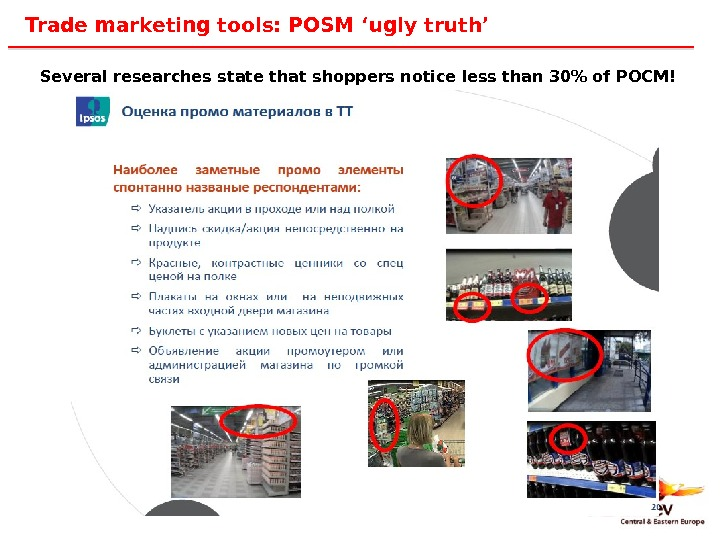 25 Trade marketing tools: POSM 'ugly truth' Several researches state that shoppers notice less than 30