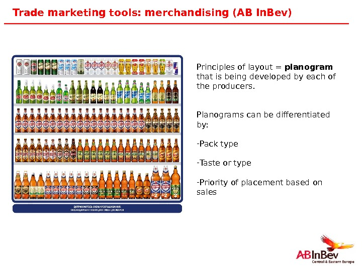 44 Trade marketing tools: merchandising (AB In. Bev) Principles of layout = planogram  that is