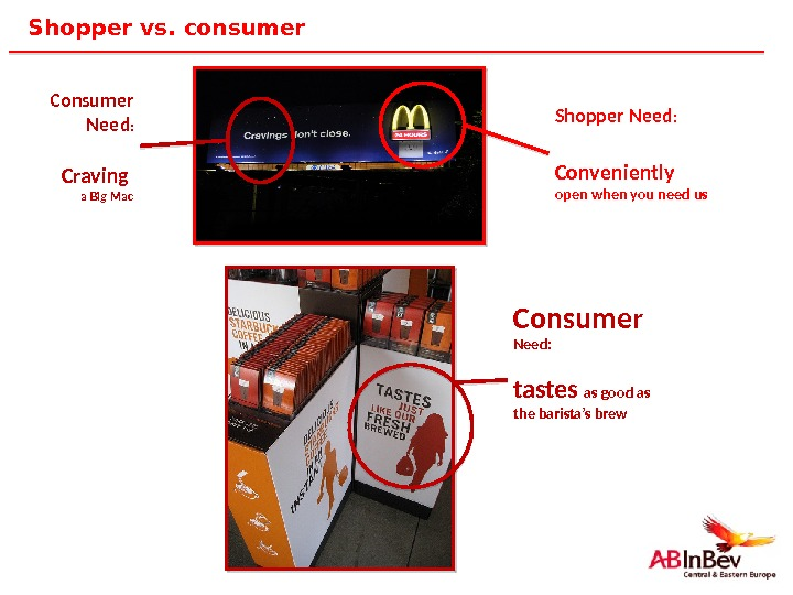 7 Shopper vs. consumer Consumer  Need: tastes as good as the barista's brew. Consumer Need