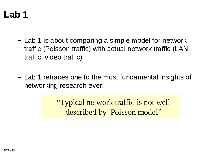 "ECE 466 "" Typical network traffic is not well described by Poisson model""Lab 1 – Lab"