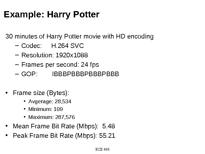 Example: Harry Potter 30 minutes of Harry Potter movie with HD encoding – Codec:  H.