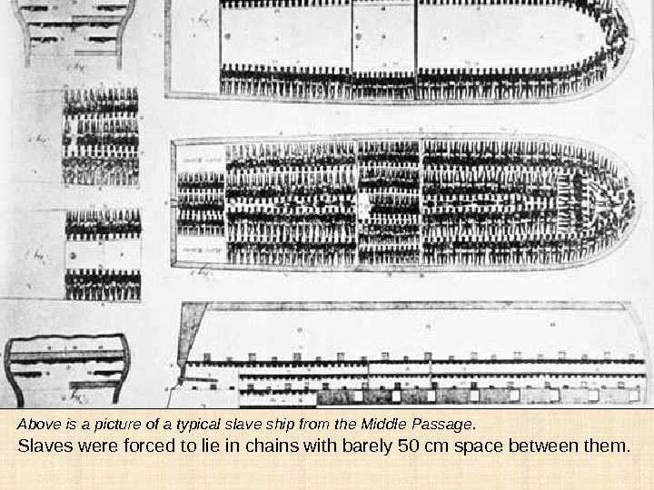 Above is a picture of a typical slave ship from the Middle Passage.  Slaves were