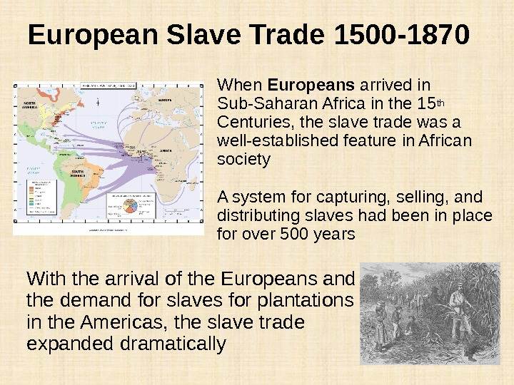 European Slave Trade 1500 -1870 When Europeans arrived in Sub-Saharan Africa in the 15 th