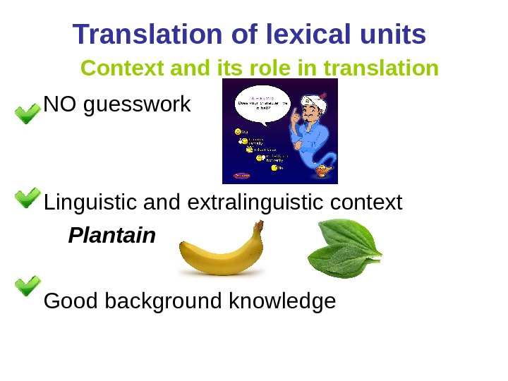 Translation of lexical units  Context and its role in translation NO guesswork Linguistic