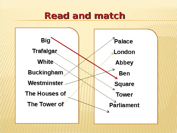 Read and match Big Trafalgar White Buckingham Westminster The Houses of The Tower of Palace London