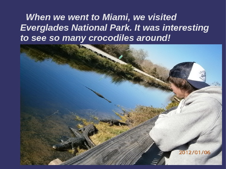 When we went to Miami, we visited Everglades National Park. It was interesting to