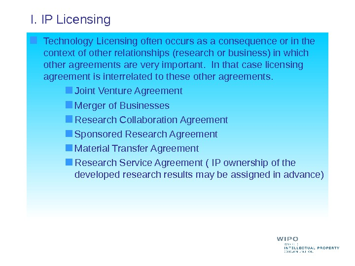 I. IP Licensing  Technology Licensing often occurs as a consequence or in the context of